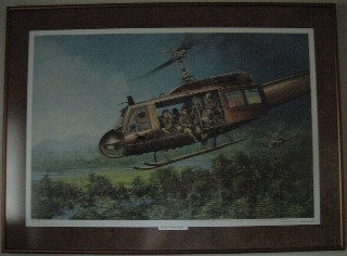 Print by Joe Kline.  UH-1H Crew Chief with the 101st AB Div 70-71. Click for more.